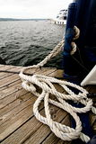 Rope heap on a deck Royalty Free Stock Photo