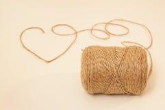 Rope heart. The heart of hemp rote. stock photo