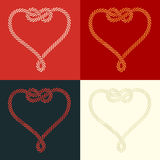 Rope heart shaped with knot set Royalty Free Stock Photo