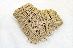 Rope heart on the snow Royalty Free Stock Photography