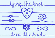 Rope hearts and knots, vector set. Tying the knot, rope hearts for wedding invitation, set of vector design elements Stock Images