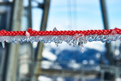 Rope with icicles Royalty Free Stock Photography