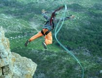 Rope jumping.Bungee jumping. Royalty Free Stock Photography