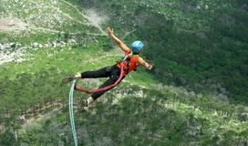 Rope jumping.Bungee jumping. Stock Photography