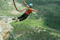 Rope jumping.Bungee jumping. Stock Photo