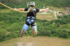 Rope jumping.Bungee jumping. royalty free stock images