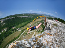 Rope jumping.Crimea. Kachy-Kalion. Royalty Free Stock Photography