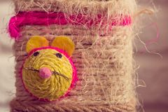 Cat toy with colorful mouse face Royalty Free Stock Photography