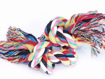 Rope Knot 054. Colorful rope toy knot isolated on a white background Stock Photography
