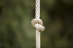 Rope knot. Detail of a rope knot in outdoor Royalty Free Stock Photography