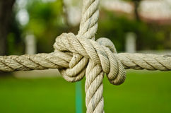 The rope knot. A single rope knot close up Stock Image