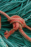 Rope Knot. Knot of orange ropes against the backdrop of thinner green ropes Royalty Free Stock Photography
