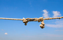 Rope knot against the sky Royalty Free Stock Photo