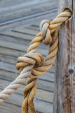 Rope and knot attached to wooden pole Royalty Free Stock Image