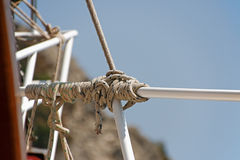 Rope and knot on the background of Mediterranean sea Royalty Free Stock Images