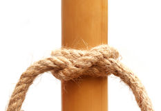 Rope knot on a bamboo Stock Photos