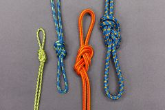 Rope knot  on black background. Climbing and mountaineering sport Royalty Free Stock Photo