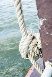 Rope knot on boat Royalty Free Stock Image