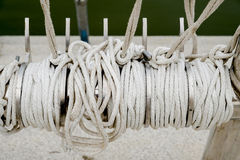 Rope knot on boat sea background Stock Photo