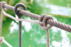Rope knot of handrail Royalty Free Stock Photo