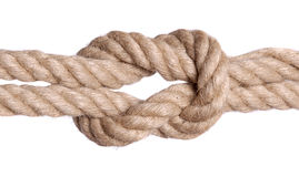 Rope knot isolated over white Stock Images