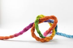 Rope or Knot. String knotted on a white background Stock Image