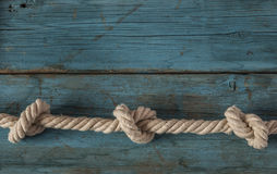 rope knot on wood Royalty Free Stock Photography
