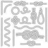 Rope Knots Borders Black Thin Line Icon Set. Vector. Rope Knots Borders Black Thin Line Icon Set Web Design Element Different Types . Vector illustration of Knot Royalty Free Stock Photo