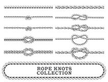 Rope knots collection. Overhand, Figure of eight and square knot. Seamless decorative elements. Stock Photo