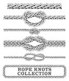 Rope knots collection. Overhand, Figure of eight and square knot. Seamless decorative elements. Vector illustration Stock Photography