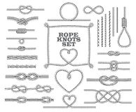 Rope knots collection. Seamless decorative elements. Stock Images