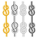 Rope knots and loops. In different styles Royalty Free Stock Photos