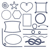 Rope knots. Marine rope knot. Set of nautical , corners and frames. Decorative elements in nautical style. Vector illustration Stock Image