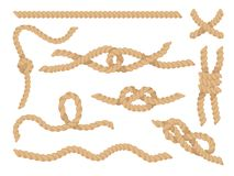 Rope Knots Set, Jute Or Hemp Twisted Cords Vector Illustration Stock Photos