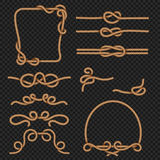 Rope la frontière et les cadres avec les éléments marins de conception de vecteur de noeuds Images stock
