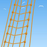 Rope ladder. Rope. Reef knot and seagulls Stock Photos
