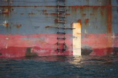 Rope ladder on side of ship Stock Image