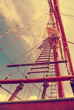 Rope ladder to the main mast of the ship Stock Image