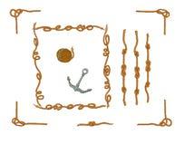Rope les cadres et l'ensemble de vecteur d'isolement par noeuds de corde Images libres de droits