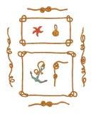 Rope les cadres et l'ensemble de vecteur d'isolement par noeuds de corde Images stock
