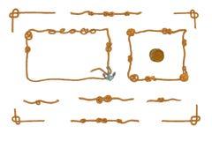 Rope les cadres et l'ensemble de vecteur d'isolement par noeuds de corde Photographie stock