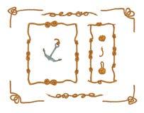 Rope les cadres et l'ensemble de vecteur d'isolement par noeuds de corde Photos stock