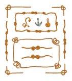 Rope les cadres et l'ensemble de vecteur d'isolement par noeuds de corde Photo libre de droits