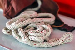 Rope lifeline. Big rope lifeline in detail - Fire department accessories Stock Photos