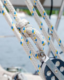 Rope, Lines or Sheets on a Sailboat - Traveller, Block and Tackl Royalty Free Stock Photography