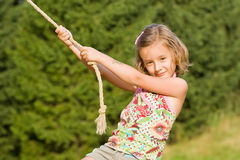 Rope and little girl Royalty Free Stock Photography