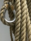 Rope. With a loop hanging on a boat Royalty Free Stock Image