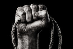 Rope in male hand Stock Photos