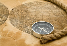 Rope, Map And Compass Royalty Free Stock Photography