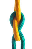Rope with marine knot on white background. Royalty Free Stock Photos